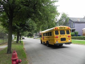 SCHOOL BUS ON COLUMBUS STREET.