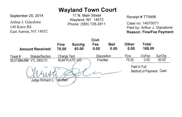 Wayland Town Court Receipt 09-25-20140001